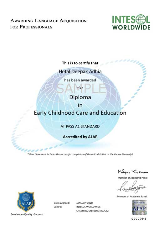 early childhood education diploma care certificate sample apply