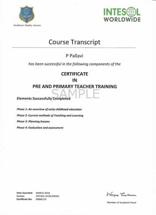 pre and primary teacher training certificate transcript