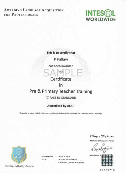 pre and primary teacher training certificate