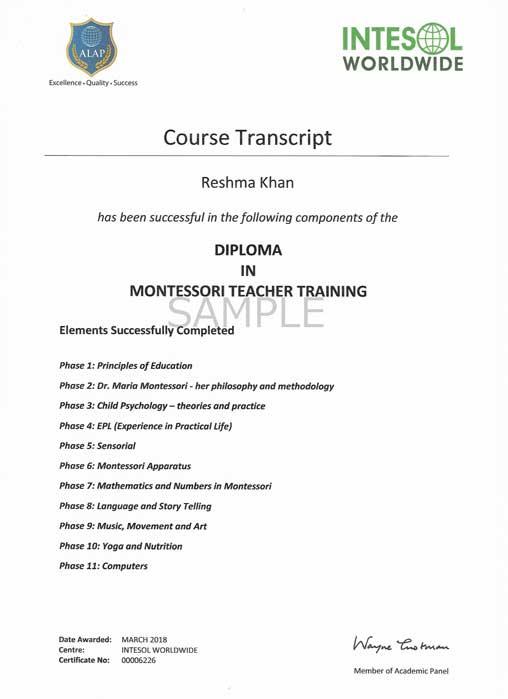 montessori teacher training course certificate apply